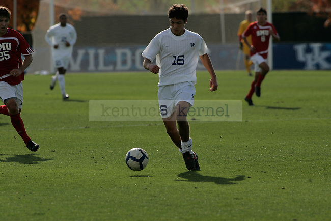 UK junior midfielder Tyler Burns dribbles the ball down the field during their game against  SMU at Softball and Soccer Complex on Wednesday, Nov. 4, 2009. Photo by Allie Garza   Staff