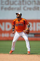 Bowie Baysox second baseman Jesmuel Valentin (10) during an Eastern League game against the Binghamton Rumble Ponies on August 21, 2019 at Prince George's Stadium in Bowie, Maryland.  Bowie defeated Binghamton 7-6 in ten innings.  (Mike Janes/Four Seam Images)