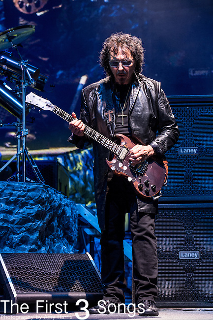 Tony Iommi of Black Sabbath performs at Klipsch Music Center in Indianapolis, Indiana.