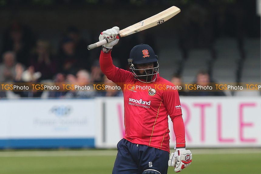 Ashar Zaidi of Essex celebrates scoring a half-century, 50 runs during Essex Eagles vs Hampshire, Royal London One-Day Cup Cricket at The Cloudfm County Ground on 30th April 2017