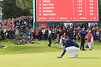 Matthew Fitzpatrick (ENG) lines up his putt on the 18th green on the 1st playoff hole during Sunday's Final Round of the 2017 Omega European Masters held at Golf Club Crans-Sur-Sierre, Crans Montana, Switzerland. 10th September 2017.<br /> Picture: Eoin Clarke | Golffile<br /> <br /> <br /> All photos usage must carry mandatory copyright credit (&copy; Golffile | Eoin Clarke)