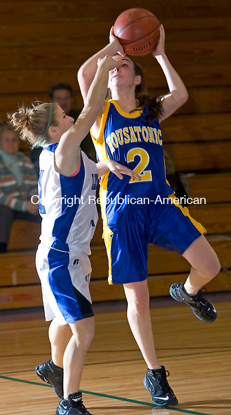 BURLINGTON, CT- 11 JAN 2008- 011108JT08-<br /> Lewis Mills' Alexis Veith fouls Housatonic's Hannah Savage during Friday's game at Lewis Mills. Mills won 58-47.<br /> Josalee Thrift / Republican-American