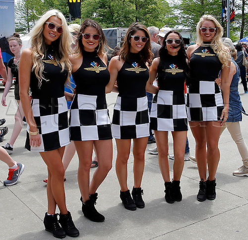 27.05.2016. Indianapolis, IN, USA.   The Indy Girls pose for a picture during Carb Day for the 100th running of the Indianapolis 500 in Speedway, IN.
