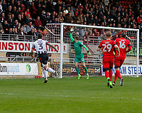 Grimsby Town's Danny Andrew fires a shot over the bar during the Sky Bet League 2 match between Leyton Orient and Grimsby Town at the Matchroom Stadium, London, England on 11 March 2017. Photo by Carlton Myrie / PRiME Media Images.
