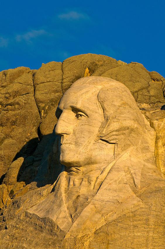 Faces of George Washington and Thomas Jefferson, Mount Rushmore National Memorial, Black Hills, South Dakota USA