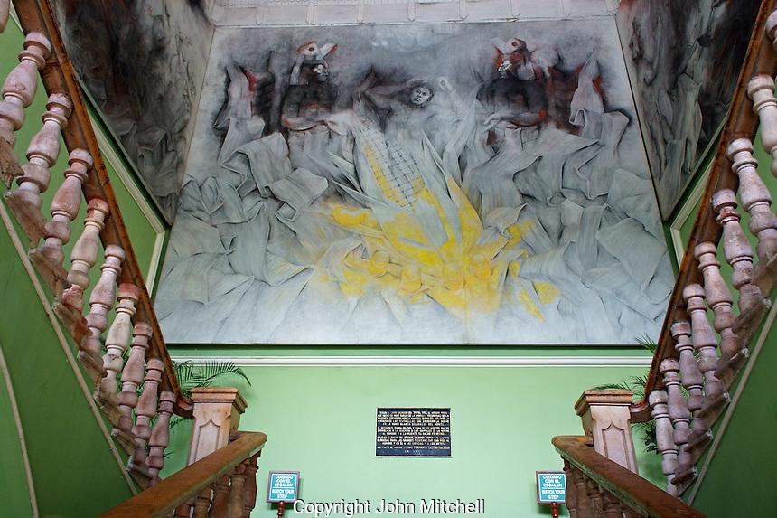 Murals depicting Mayan cosmology painted by Fernando Castro Pacheco in the Palacio de Gobierno or Government Palace, Merida, Yucatan, Mexico