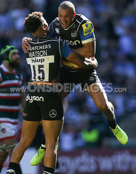 Anthony Watson of Bath Rugby celebrates his second try with team-mate Jonathan Joseph. The Clash, Aviva Premiership match, between Bath Rugby and Leicester Tigers on April 8, 2017 at Twickenham Stadium in London, England. Photo by: Rogan Thomson / JMP for Onside Images