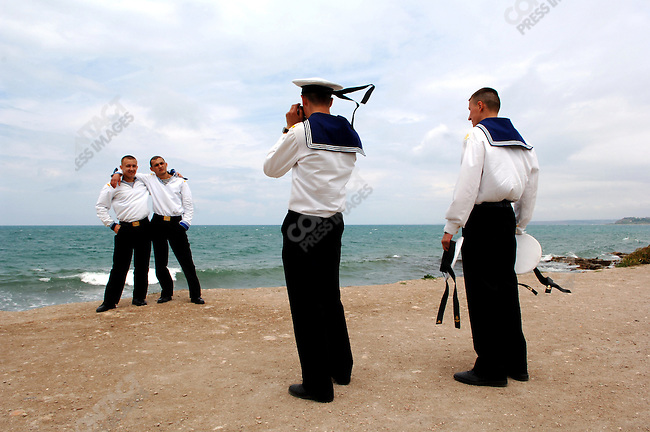 Sailors from the Black Sea Fleet on the shores of the Black Sea at Khersones, located just outside Sevastopol. Republic of Crimea, May 28, 2006.