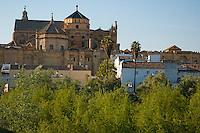 Catedral de Cordoba, a former medieval mosque, seen from a bridge along the Guadalquivir river, Cordoba, Andalusia, Spain.