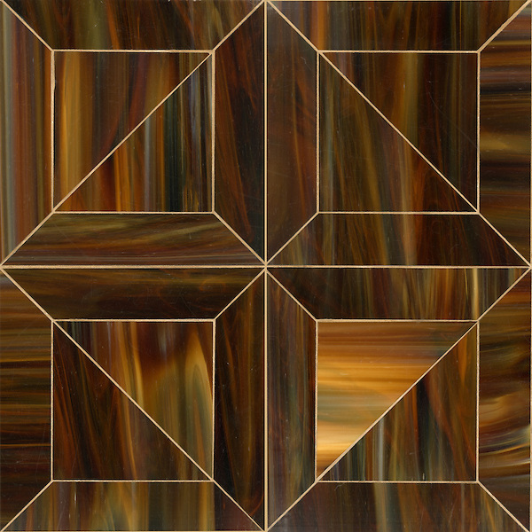 Truman, a Jewel Glass waterjet mosaic shown in Tortoise Shell, is part of the Parquet Line by Sara Baldwin for New Ravenna Mosaics.<br /> As seen in Elle Decor
