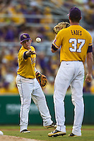 LSU Tigers third baseman Tyler Hanover #11 AAA during the NCAA Super Regional baseball game against Stony Brook on June 10, 2012 at Alex Box Stadium in Baton Rouge, Louisiana. Stony Brook defeated LSU 7-2 to advance to the College World Series. (Andrew Woolley/Four Seam Images)