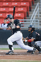 Matt Hague (28) of the Hickory Crawdads follows through on his swing at L.P. Frans Stadium in Hickory, NC, Sunday, August 17, 2008.