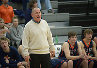 NWA Democrat-Gazette/ANDY SHUPE<br /> Heritage coach Tom Olsen directs his team Tuesday, Feb. 13, 2018, during the first half of play against Fayetteville in Bulldog Arena in Fayetteville. Visit nwadg.com/photos to see more photographs from the games.
