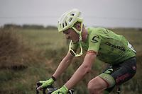 Dylan van Baarle (NED/Cannondale-Drapac) returning to the peloton after a crash<br /> <br /> 12th Eneco Tour 2016 (UCI World Tour)<br /> Stage 7: Bornem › Geraardsbergen (198km)