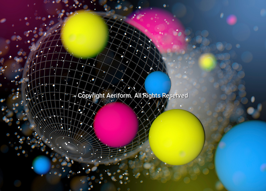 Geometric grid on sphere contrasting with fluorescent neon colored balls