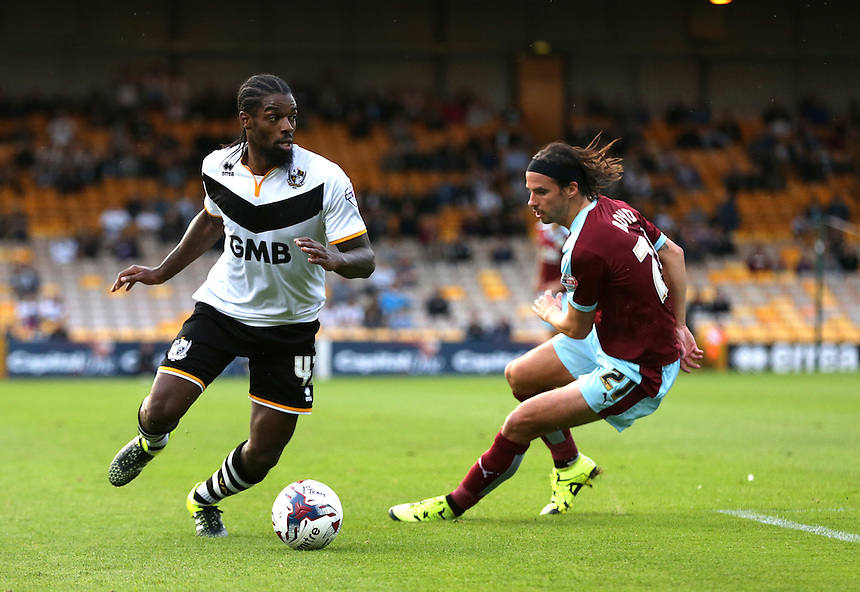 Port Vale's Remie Streete and Burnley's George Boyd<br /> <br /> Photographer Stephen White/CameraSport<br /> <br /> Football - Capital One Cup First Round - Port Vale v Burnley - Tuesday 11th August 2015 - Vale Park<br />  <br /> &copy; CameraSport - 43 Linden Ave. Countesthorpe. Leicester. England. LE8 5PG - Tel: +44 (0) 116 277 4147 - admin@camerasport.com - www.camerasport.com