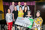 2016 festival Rose Alison McGaley presents a cheque for €  2000 to Breda Dyland New manager of Kery Cancer Support Group and lauching the Knocknagoshel pattern Harvest Festival rose selection at O'Connor's Bar on Friday 18th August at 8pm in aid of  Kerry/Cork Health Link Bus. Pictured also Jacinta Lawlor, Noreen Thompson, Ellen Barrett, Trisha O'Sullivan, Francis Jones, Donal O'Connor, Gerard Joy