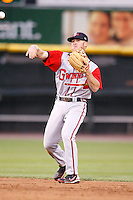 June 3, 2009:  Second Baseman Brooks Conrad of the Gwinnett Braves in the field during a game at Frontier Field in Rochester, NY.  The Gwinnett Braves are the International League Triple-A affiliate of the Atlanta Braves.  Photo by:  Mike Janes/Four Seam Images