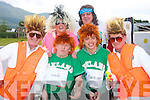 Castle Vision.-------------.Local twins Pat and Martin Finn(front far Lt and Rt)posed as Jedward for the parade at Castlegregary summer festival last Sunday evening,also front is Vincent Filgate and Daragh Rohan(back)L-R Catherine Byrne and Brendan Behan..------------