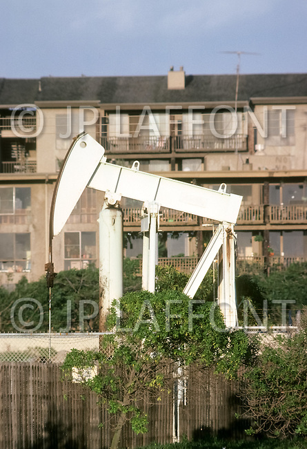 Venice Beach, California, U.S.A, March, 1980. Oil extraction activity in Venice Beach.
