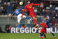 Nicolo Barella of Italy and Elias Cobbaut of Belgium  compete for the ball<br /> Reggio Emilia 22-06-2019 Stadio Città del Tricolore <br /> Football UEFA Under 21 Championship Italy 2019<br /> Group Stage - Final Tournament Group A<br /> Belgium - Italy<br /> Photo Cesare Purini / Insidefoto