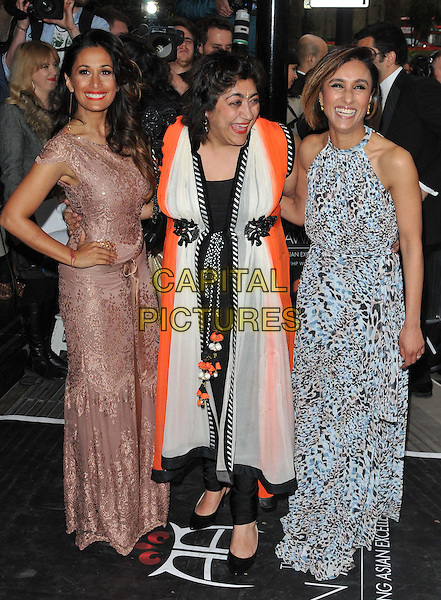 LONDON, ENGLAND - APRIL 17: Preeya Kalidas, Gurinder Chadha &amp; Anita Rani attend the Asian Awards 2015, Grosvenor House Hotel, Park Lane, on Friday April 17, 2015 in London, England, UK. <br /> CAP/CAN<br /> &copy;Can Nguyen/Capital Pictures