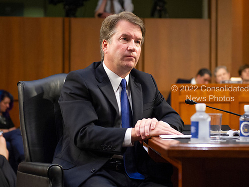Judge Brett Kavanaugh listens to the opening remarks as he prepares to testify before the United States Senate Judiciary Committee on his nomination as Associate Justice of the US Supreme Court to replace the retiring Justice Anthony Kennedy on Capitol Hill in Washington, DC on Tuesday, September 4, 2018.<br /> Credit: Ron Sachs / CNP<br /> (RESTRICTION: NO New York or New Jersey Newspapers or newspapers within a 75 mile radius of New York City)