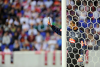Santos FC goalkeeper Fabio Costa (1) sets up a wall during the first half of a friendly between Santos FC and the New York Red Bulls at Red Bull Arena in Harrison, NJ, on March 20, 2010. The Red Bulls defeated Santos FC 3-1.