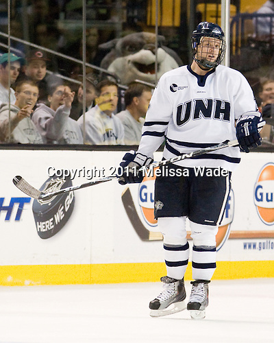 Blake Kessel (UNH - 20) - The Merrimack College Warriors defeated the University of New Hampshire Wildcats 4-1 in their Hockey East Semi-Final on Friday, March 18, 2011, at TD Garden in Boston, Massachusetts.