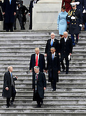 United States President Donald Trump and former US President Barack Obama walks on the steps of the Capitol in Washington, Friday, Jan. 20, 2017, with Vice President Mike Pence and former US Vice President Joe Biden along with with first lady Melania Trump and Michelle Obama, prior to the Obama's departure to Andrews Air Force Base, Md., following the presidential inauguration. <br /> Credit: Rob Carr / Pool via CNP