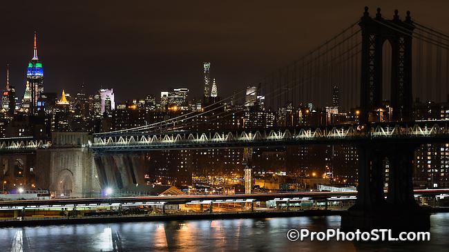 Manhattan Bridge between Brooklyn and Manhattan in New York City
