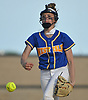 Jamison Lundie #1, West Islip pitcher, delivers to the plate in the bottom of the sixth inning of a Suffolk County League V varsity softball game against host North Babylon High School on Wednesday, May 9, 2018. North Babylon won by a score of 4-1.