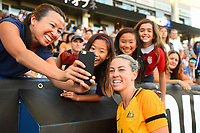 Carson, CA - Thursday August 03, 2017: Alanna Kennedy, fans after a 2017 Tournament of Nations match between the women's national teams of Australia (AUS) and Brazil (BRA) at the StubHub Center.