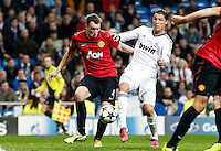 Real Madrid's Cristiano Ronaldo (r) and Manchester United's Phil Jones during Champions League 2012/2013 match.February 12,2013. (ALTERPHOTOS/Alfaqui/Alex Cid-Fuentes)
