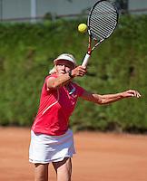 Netherlands, Amstelveen, August 23, 2015, Tennis,  National Veteran Championships, NVK, TV de Kegel,  Final lady's 70+, Anneke Jelsma-De Jong<br /> Photo: Tennisimages/Henk Koster
