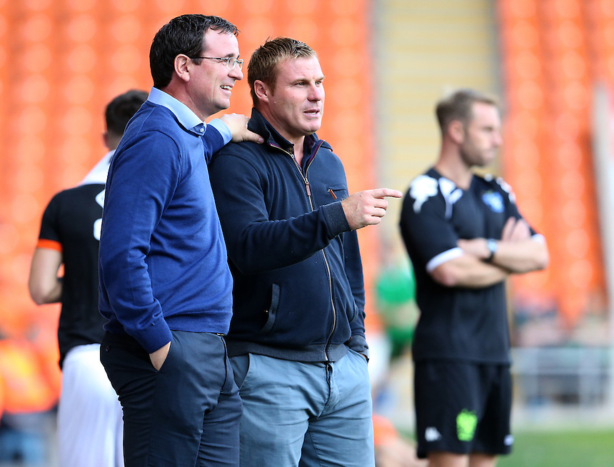 Blackpool manager Gary Bowyer shares a joke with Bury manager David Flitcroft <br /> <br /> Photographer Stephen White/CameraSport<br /> <br /> Football - Pre-Season Friendly - Blackpool v Bury - Saturday 30 July 2016 - Bloomfield Road - Blackpool<br /> <br /> World Copyright &copy; 2016 CameraSport. All rights reserved. 43 Linden Ave. Countesthorpe. Leicester. England. LE8 5PG - Tel: +44 (0) 116 277 4147 - admin@camerasport.com - www.camerasport.com
