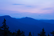 Morning blue hour (before sunrise) from the summit of Mount Tecumseh in Waterville Valley, New Hampshire during the summer months. This mountain is named for the Shawnee war chief, Tecumseh (1768–1813).