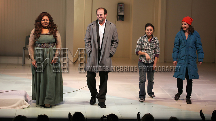 Da'Vine Joy Randolph, Chris Bauer, Aimee Carrero & Seana Kofoed during the Opening Night Curtain Call for the Atlantic theater Company's 'What Rhymes with America' at The Linda Gross Theater in New York on December 12, 2012