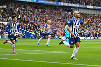 Neal Maupay of Brighton and Hove Albion scores the first goal and celebratesf during Brighton & Hove Albion vs Tottenham Hotspur, Premier League Football at the American Express Community Stadium on 5th October 2019