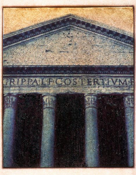 Facade of the Pantheon, Rome, Italy - Polaroid Transfer