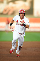 Springfield Cardinals outfielder Nick Martini (3) running the bases during a game against the Frisco RoughRiders  on June 3, 2015 at Hammons Field in Springfield, Missouri.  Springfield defeated Frisco 7-2.  (Mike Janes/Four Seam Images)