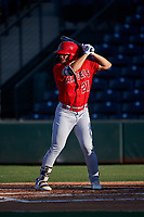 AZL Angels Erik Rivera (21) at bat during an Arizona League game against the AZL Padres 1 on July 16, 2019 at Tempe Diablo Stadium in Tempe, Arizona. The AZL Padres 1 defeated the AZL Angels 3-1. (Zachary Lucy/Four Seam Images)