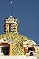 Talavera tiled dome of the Templo Capuchinas church in the city of Puebla, Mexico