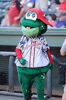 Mascot Reedy Rip'It of the Greenville Drive wears a Hawaiian shirt during Jimmy Buffett Night at a game against the Lexington Legends on Friday, August 29, 2014, at Fluor Field at the West End in Greenville, South Carolina. Greenville won, 6-1. (Tom Priddy/Four Seam Images)