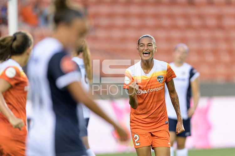 Houston, TX - Saturday July 15, 2017: Poliana Barbosa Medeiros celebrates her goal during a regular season National Women's Soccer League (NWSL) match between the Houston Dash and the Washington Spirit at BBVA Compass Stadium.