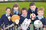 Currow NS pupils who have invited local sports stars Mike Galwey, JJ Hanrahan and memebers of Currow GAA club and Castleisland soccer club who to give a demonstration and a talk of their  sports to their class l-r: Ellen Dennehy, Meaghan Dennehy, Tadhg Broderick, Brian Culloty and Cathal Sheehan ..