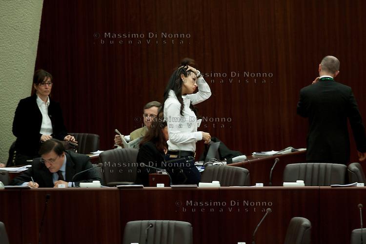 Milano: Nicole Minetti durante il consiglio regionale della Lombardia
