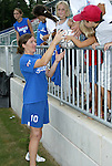 9 August 2003: Hege Riise (10) signs autographs after the game. The Carolina Courage tied the Philadelphia Charge 1-1 at SAS Stadium in Cary, NC in the final regular season WUSA game.