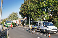Pictured: A recovery lorry attempts to free the articulated M&S lorry which crashed on Fabian Way, Swansea, Wales, UK. Friday 20 September 2019<br /> Re: A Marks and Spencer articulated lorry has crashed through the central reservation of a dual carriageway and into a wall on the opposite side of the road on the A483 Fabian Road in the St Thomas area of Swansea, south Wales, UK.
