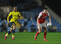 Fleetwood Town's Lewie Coyle under pressure from Oxford United's Wes Thomas<br /> <br /> Photographer Kevin Barnes/CameraSport<br /> <br /> The EFL Sky Bet League One - Oxford United v Fleetwood Town - Tuesday 10th April 2018 - Kassam Stadium - Oxford<br /> <br /> World Copyright &copy; 2018 CameraSport. All rights reserved. 43 Linden Ave. Countesthorpe. Leicester. England. LE8 5PG - Tel: +44 (0) 116 277 4147 - admin@camerasport.com - www.camerasport.com